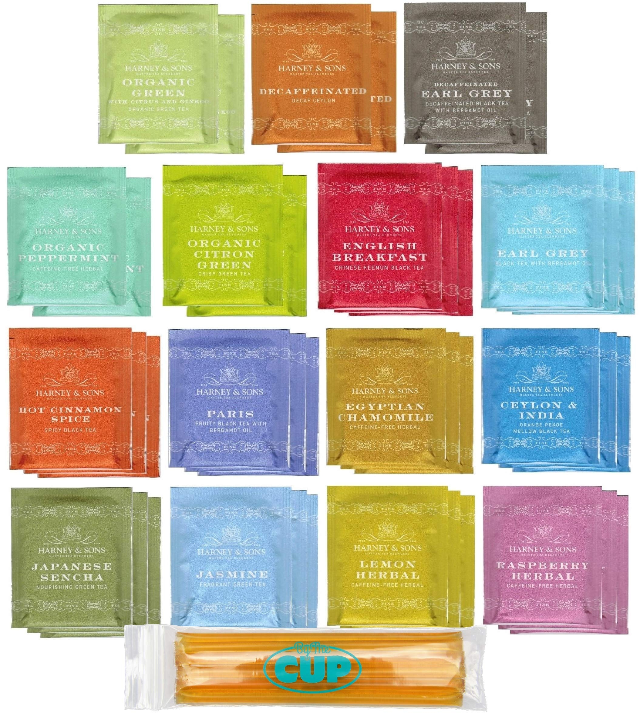 Harney & Sons Tea Bag Sampler 40 Ct with By The Cup Honey Sticks by By The Cup