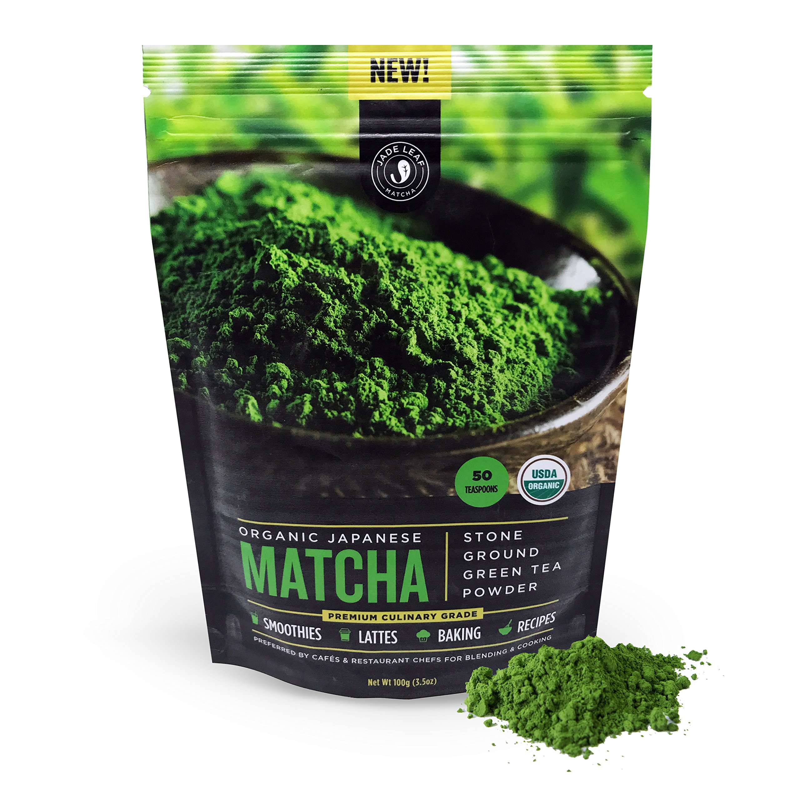 Jade Leaf Matcha Green Tea Powder - USDA Organic, Authentic Japanese Origin - Premium Culinary Grade (Smoothies, Lattes, Baking, Recipes) - Antioxidants, Energy [100g Value Size]