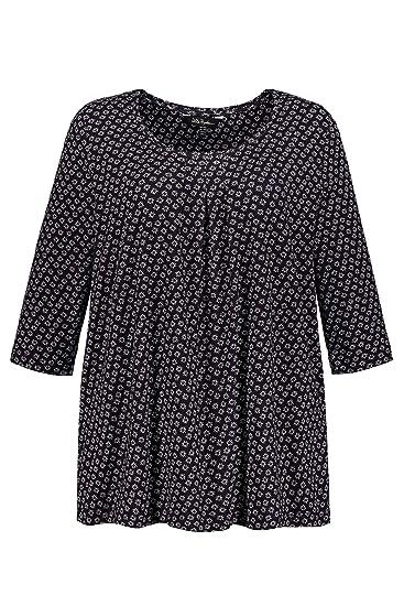 47f8d781048 Ulla Popken Femme Grandes Tailles T-Shirt col Rond imprimé Graphique Bleu  Marine 44