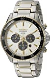 Seiko Men's Solar Chronograph Two-Tone Watch with Black Bezel