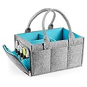 Large Baby Diaper Caddy Organizer | Nursery Storage Bin | Portable Car Seat Tote with Zipper Compartment & 5mm Heavy Duty Felt by Mollie Ollie