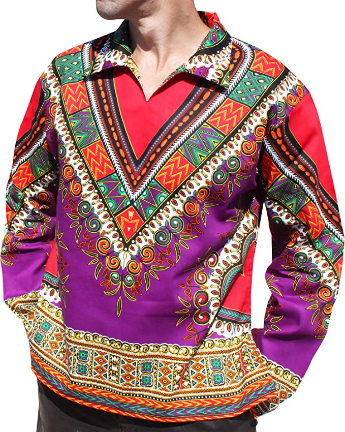 1960s – 70s Mens Shirts- Disco Shirts, Hippie Shirts RaanPahMuang Wide European Poets Collar Long Sleeve Dashiki Heart Print Plus Size $27.69 AT vintagedancer.com