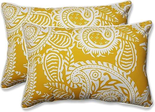 Pillow Perfect Outdoor Indoor Addie Egg Yolk Oversized Lumbar Pillows, 24.5 x 16.5 , Yellow, 2 Pack