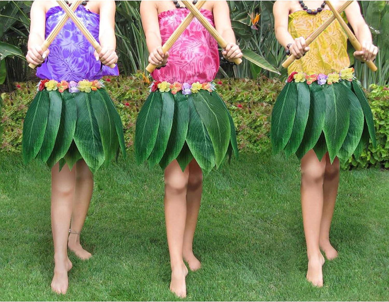 Kurtzy Hawaii Falda de Hoja (3 Pcs) - 35 cm (Larga) Falda de Hoja ...