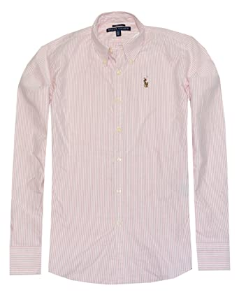 5771826e Ralph Lauren Women Classic Fit Oxford Striped Pony Logo Shirt (2, Pink/White