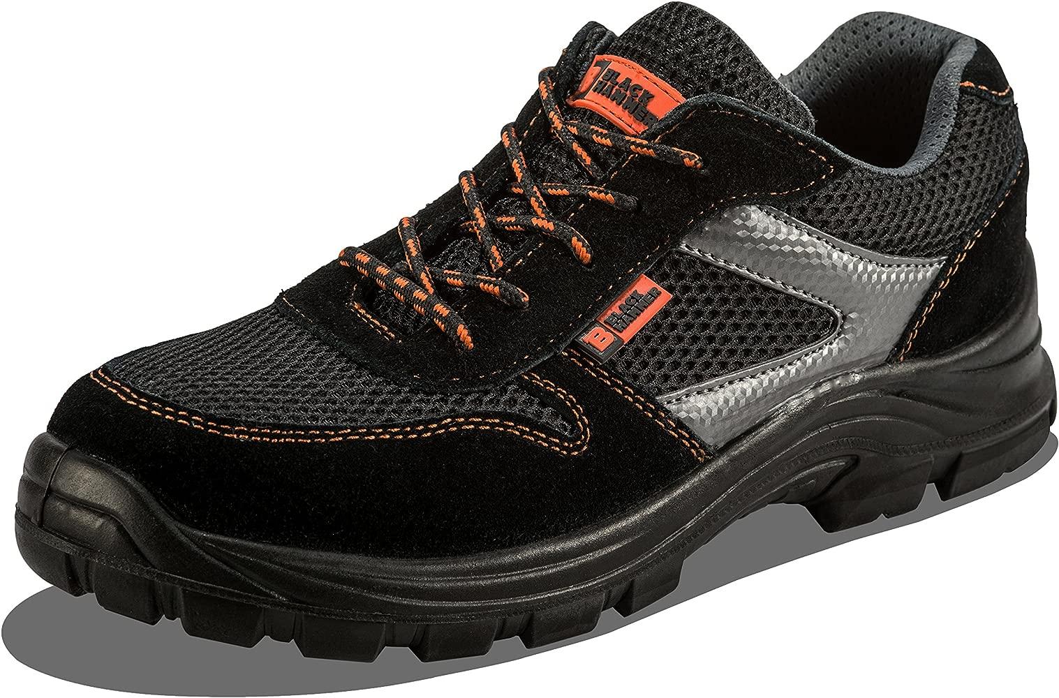 Calzado Deportivo Masculino de Seguridad con Puntera Ultraligera de Zapatos de Trabajo al Tobillo Kevlar S1P SRC 1997 Black Hammer
