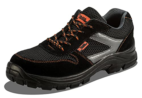Black Hammer Mens Safety Trainers Ultra Lightweight Composite Toe Cap and Kevlar Midsole Metal Free Work Shoes Ankle Hiker 1997 S1P