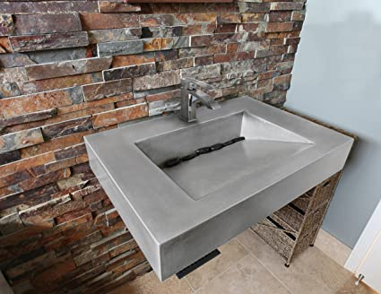 30u0026quot; ADA Floating Concrete Sink 1 Hole (Wall Mounted), Polished Chrome  Drain