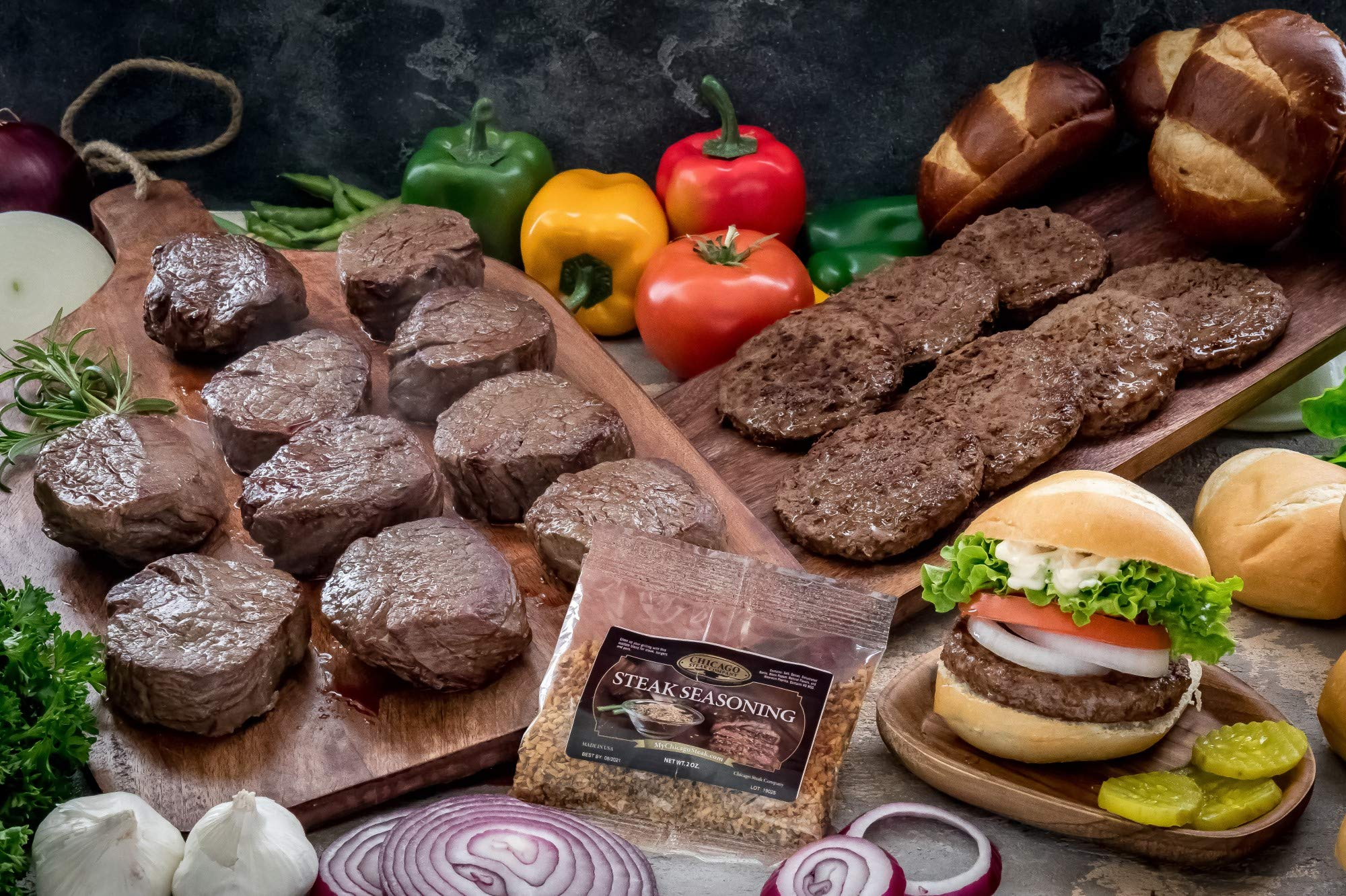Butcher's Choice Gift Box 10 (6 oz.) Filet Mignons & 8 (4 oz.) Angus Beef Steak Burgers - Wet Aged Filet Mignons and Angus Beef Burgers Gift Set with 1 Pack Steak Seasoning - Home-made Grilled Steak
