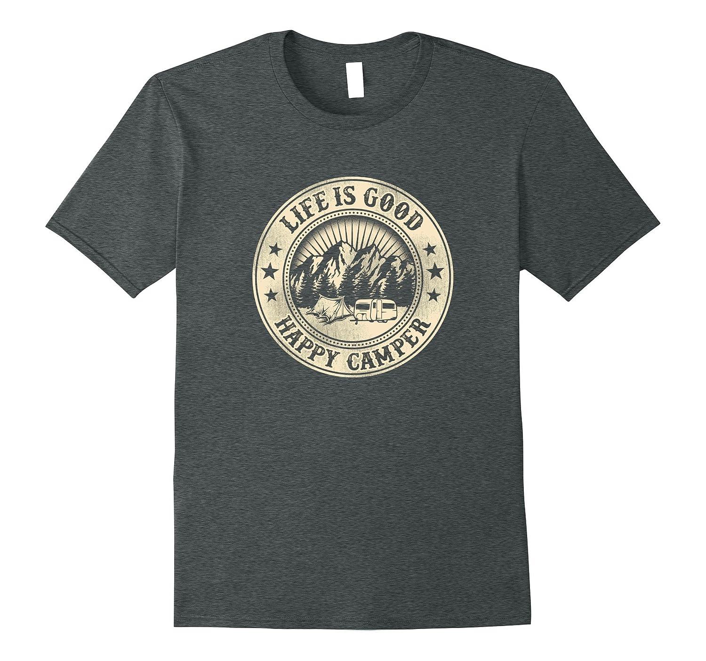 Happy Camper Retro Vintage Style T Shirt-Vaci