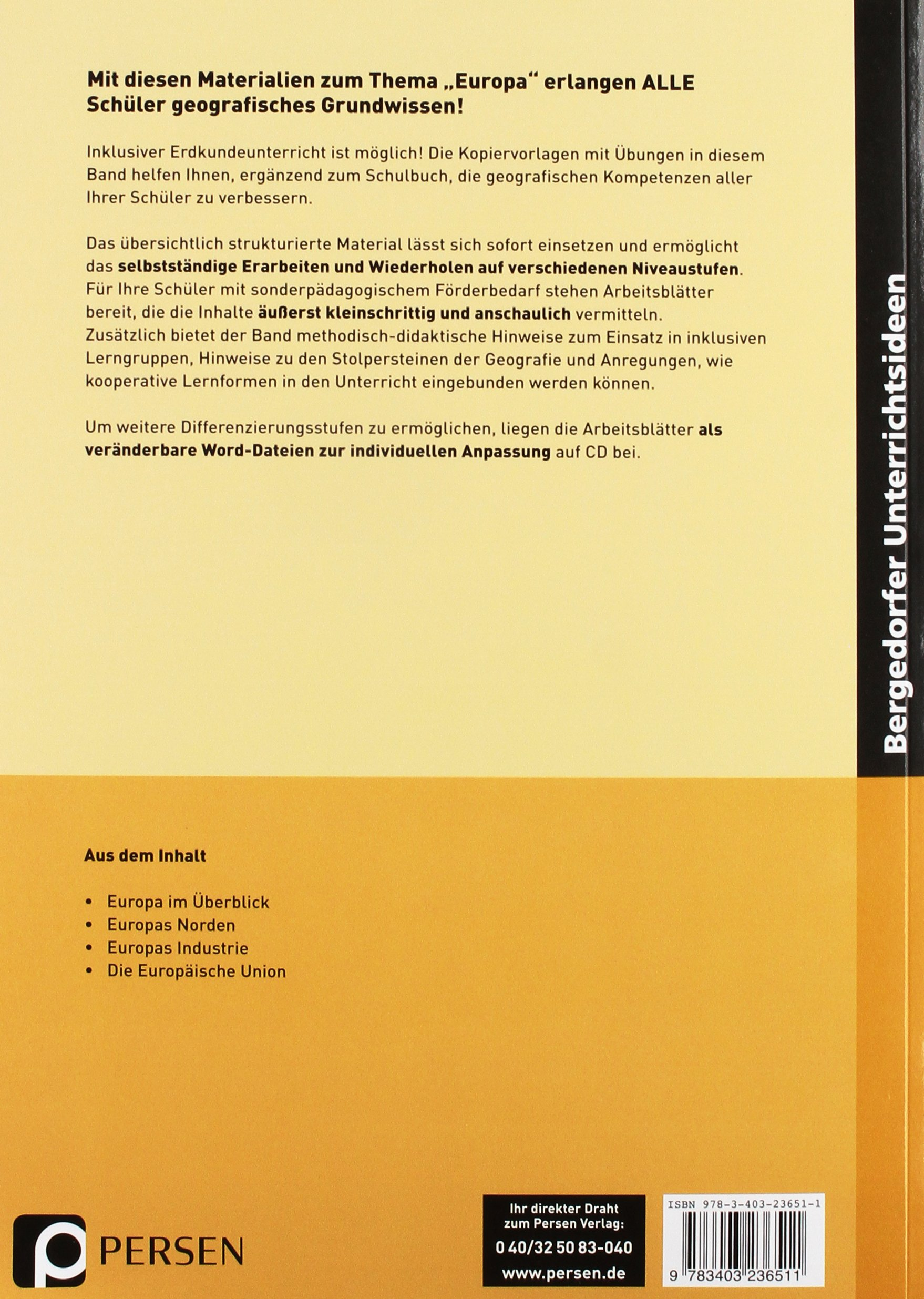 Europa - Inklusionsmaterial Erdkunde: 5. bis 10. Klasse Grundwissen ...
