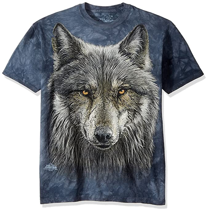 c81fd63b The Mountain Warrior Wolf Adult T-Shirt, Grey and Blue, Small