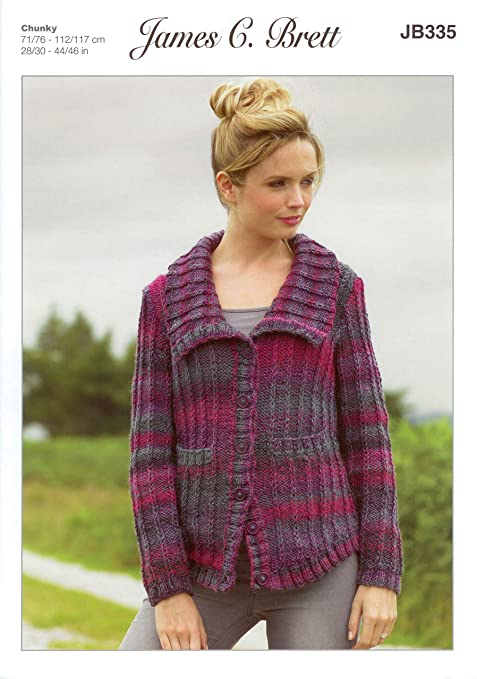 James C Brett Jb335 Knitting Pattern Ladies Jacket To Knit In Marble