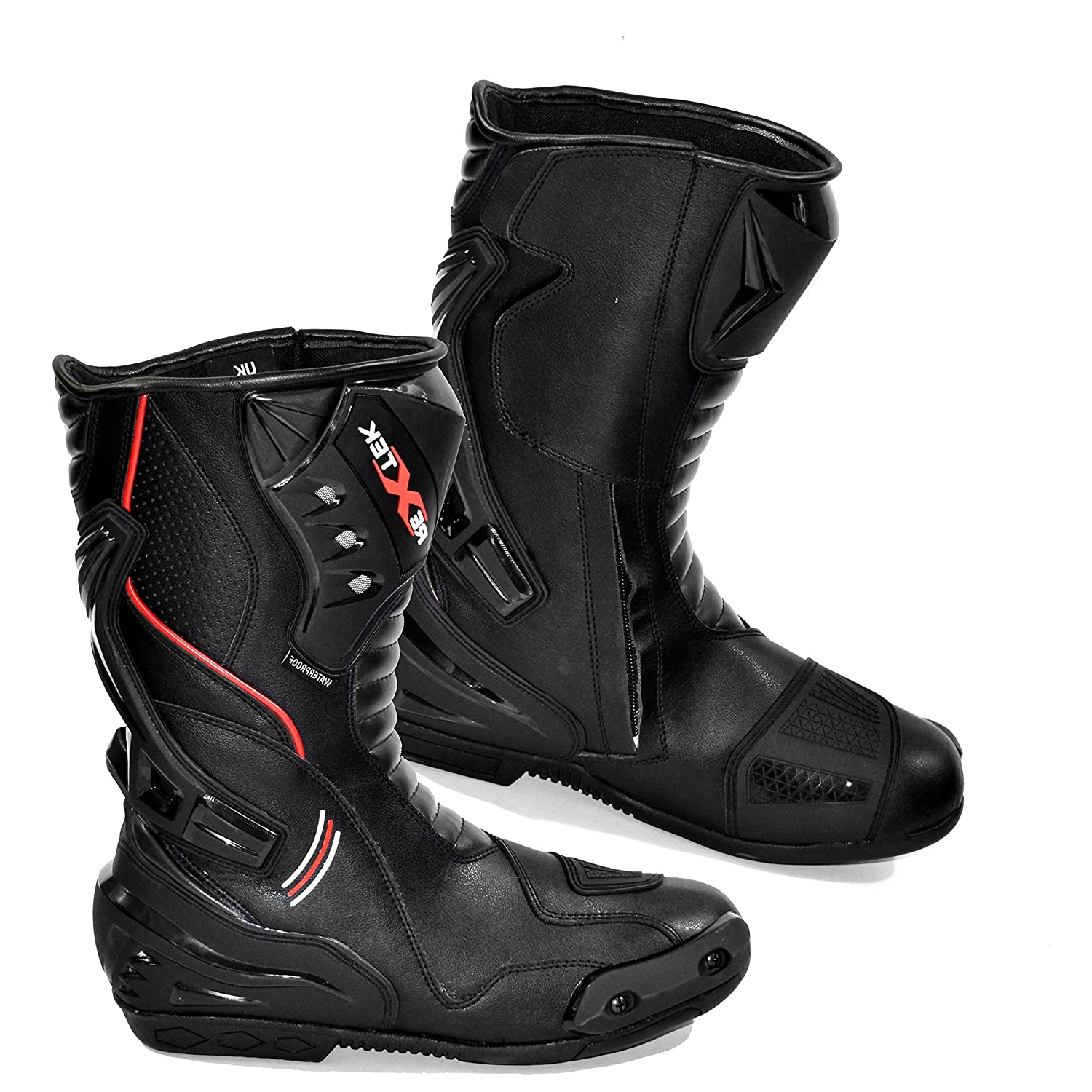 Blue /& Black Motorcycle Armoured Leather Boot Touring Racing Sports Shoes for All Weather with Anti Skid Rubber Sole Motorbike Boots Mens UK 11 // EU 45