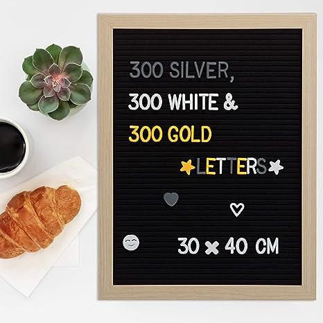 Relaxdays Letter Board Retro 900 Letras Números y Símbolos, Madera-Fieltro, Negro, 40 x 30 cm: Amazon.es: Hogar