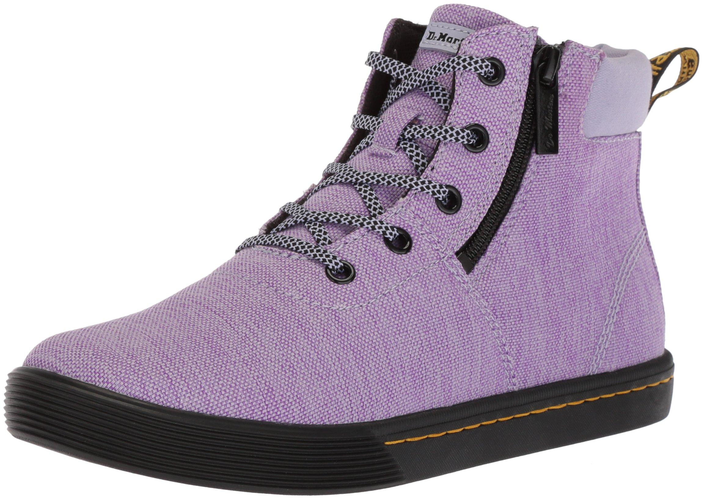 Dr. Martens Women's Maegley Fashion Boot, Purple Heather Woven Textile+Fine Canvas, 6 Medium UK (8 US)