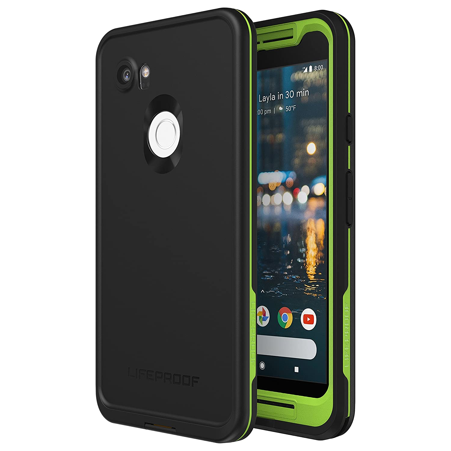 the latest d99dd ebf0e Lifeproof FRĒ Series Waterproof Case for Google Pixel 2 XL - Retail  Packaging - Night LITE (Black/Lime)