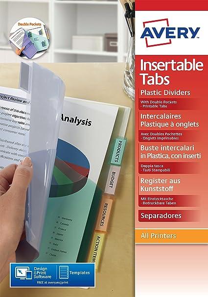 Amazon.com : Avery 798770 12 Tabs Personalizable Pocket ...