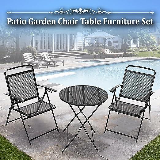 BenefitUSA 3 piezas Bistro Patio juego de mesa y sillas para exterior de hierro forjado cafe Set Metal: Amazon.es: Jardín