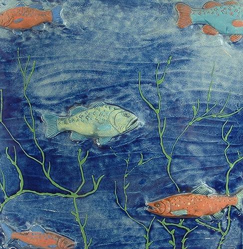 Echtes Kunsthandwerk: Tolle riesige Relief Fliese Fische ...