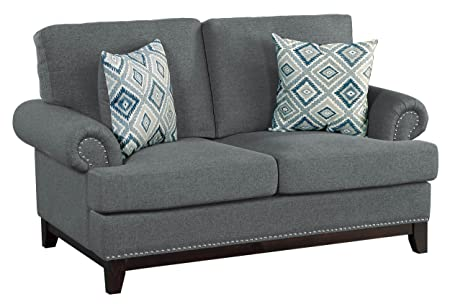 Homelegance Beacon 64 Fabric Loveseat, Dark Gray