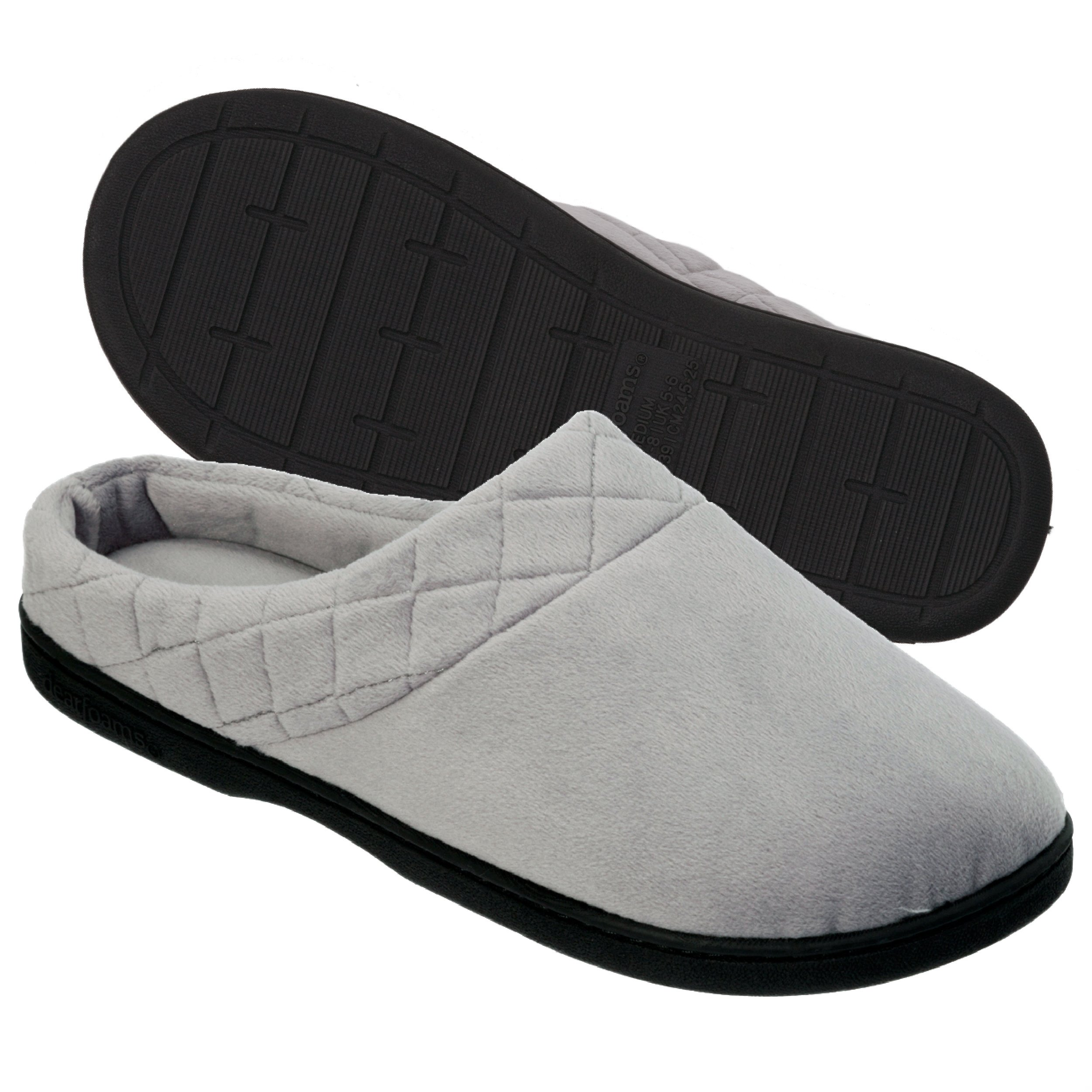 Dearfoams Women's Microfiber Clog Slipper with Quilted Cuff,Medium Grey,Large/9-10 M US
