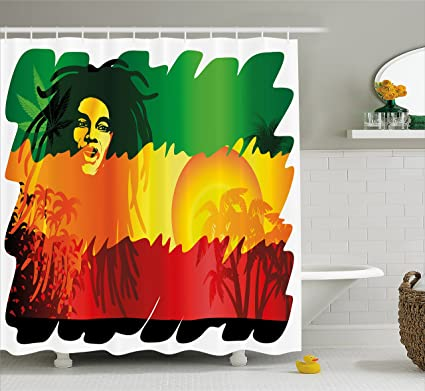 Rasta Shower Curtain By Ambesonne, Iconic Reggae Music Singer Abstract  Design With Sun And Palm