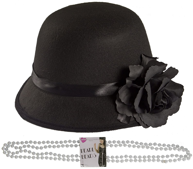 achat Un chapeau cloche noir style année 1920's + collier de perles pour adulte. Ideal pour les enterrements de vie de jeune fille. pas cher prix