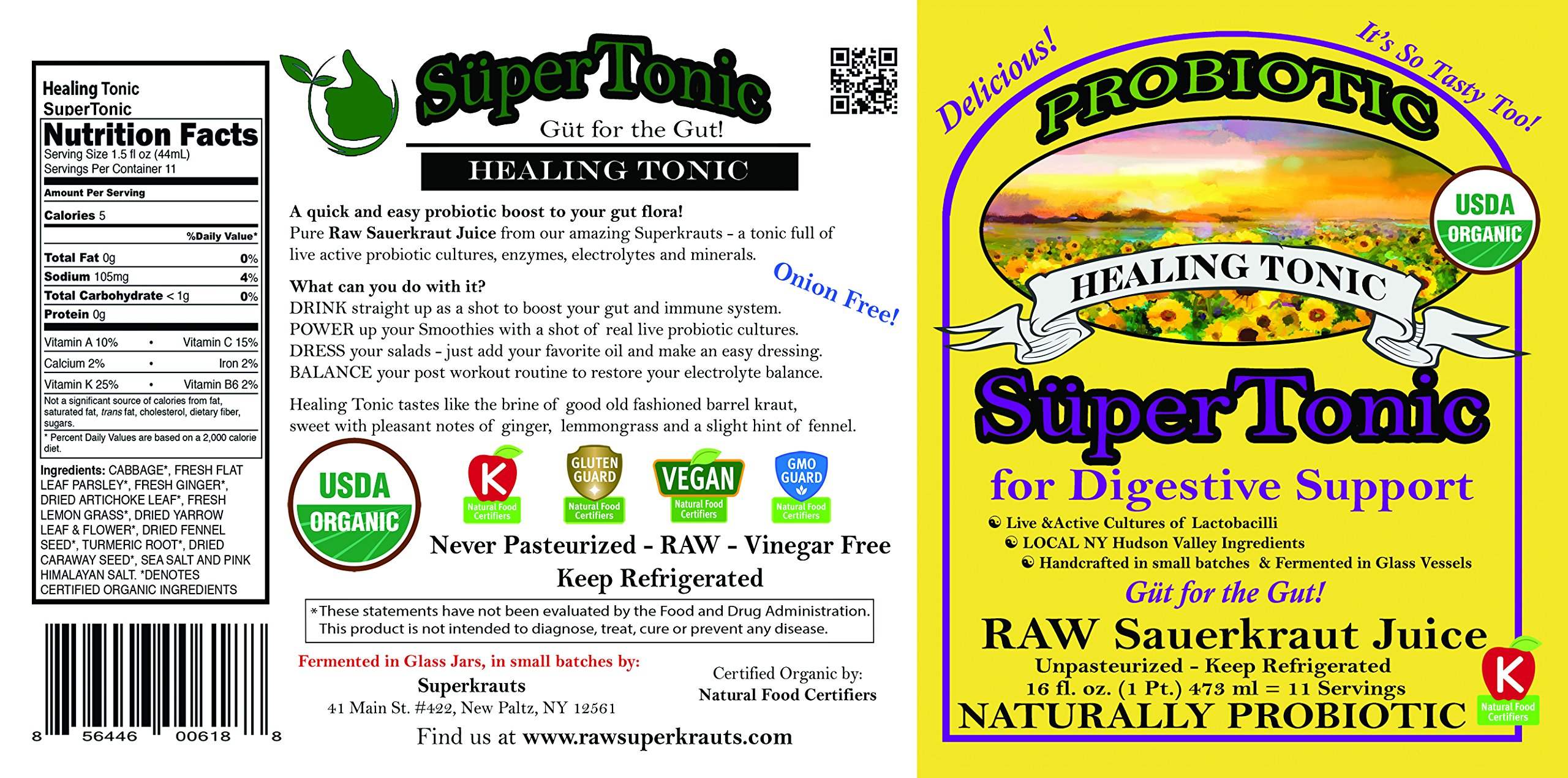 """""""Healing"""" SuperTonic for digestive support: organic, probiotic. 11 servings/bottle. No shipping charges with minimum. Pure juice of raw fermented sauerkraut, unpasteurized, kosher, vegan, gluten free. by Superkrauts (Image #3)"""