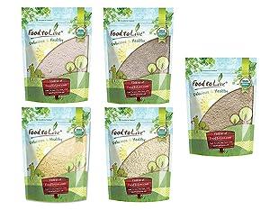 Organic Flours in a Gift Box - Barley Flour, Buckwheat Flour, Kamut Flour, Millet Flour, Whole Spelt Flour