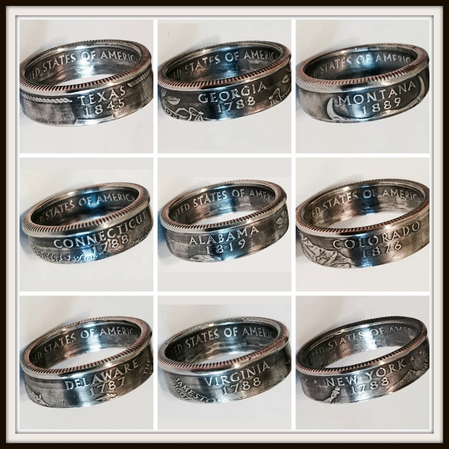 ''Real U.S. Quarter Coin Rings. From years 1965 to 2008 and from all States''