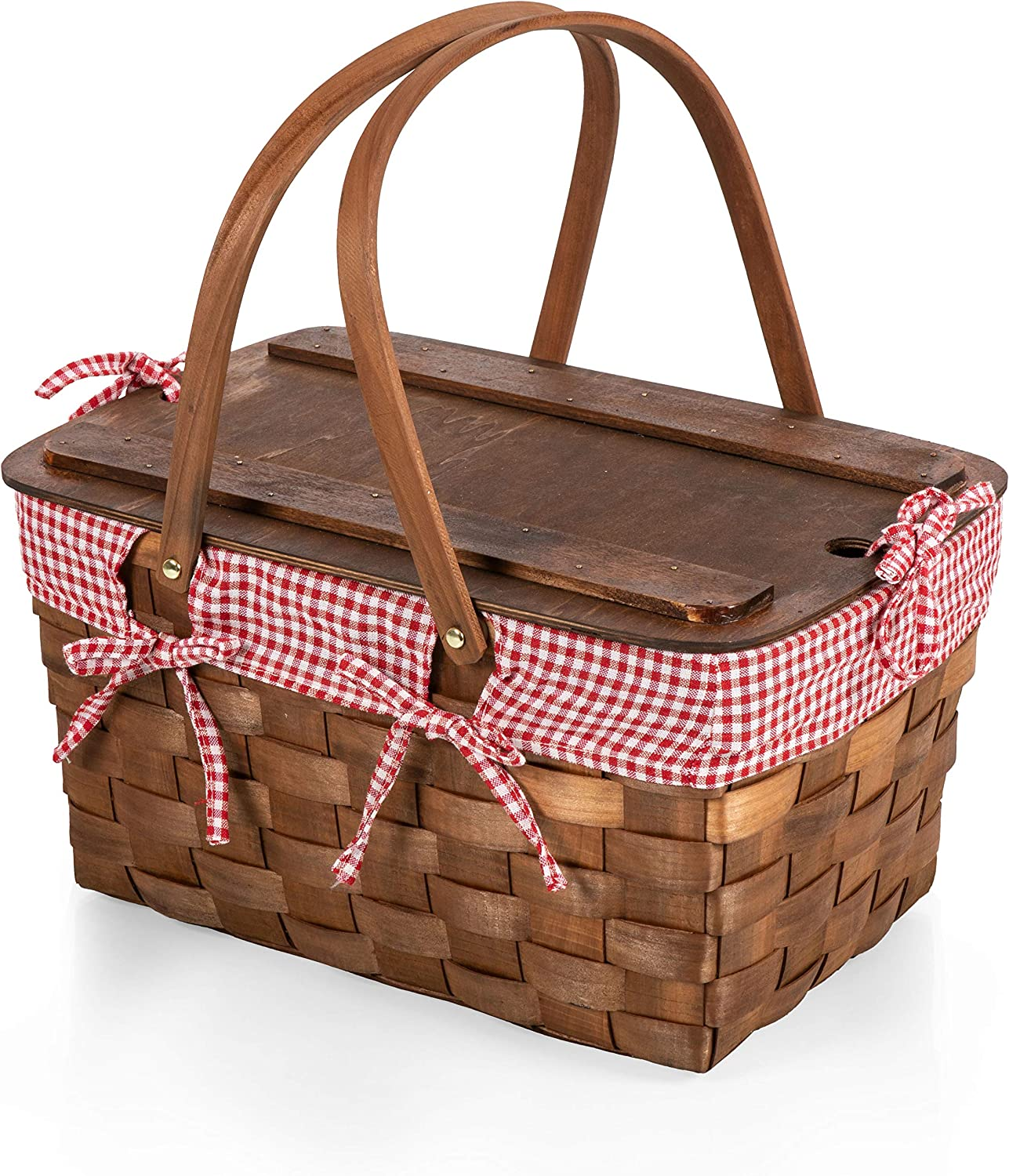 Picnic Time - A Picnic Time Brand 350-01-300-000-0 Kansas Handwoven Wood Picnic Baskets, Red & White Gingham Pattern
