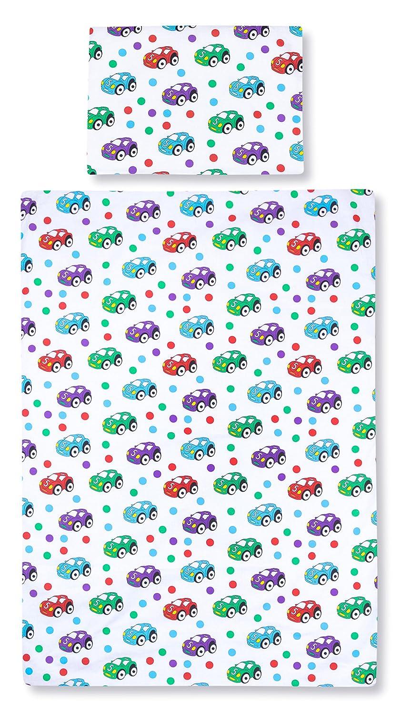 Amilian® Baby Bettwäsche Design: Autos Weiß 100x135 cm (40x60 cm) Bettset Kinderbettwäsche