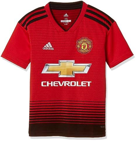 Adidas Manchester United Home Jersey Camiseta 128 Manga Corta Cuello de Pico Poliéster Negro, Rojo