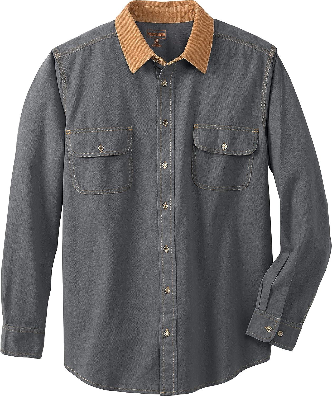 Boulder Creek Camisa Renegade de Manga Larga y Cuello de Pana para Hombre - Gris - X-Large Tall: Amazon.es: Ropa y accesorios