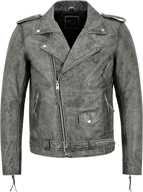 Smart Range Leather Chaqueta para Hombre Brando Cuero Real Gris Efecto Agrietado Moda Biker SR-MBF