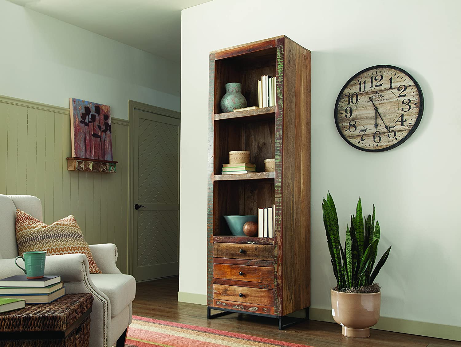 Coaster Home Furnishings 3-Drawer Tall Open Bookcase Reclaimed Wood