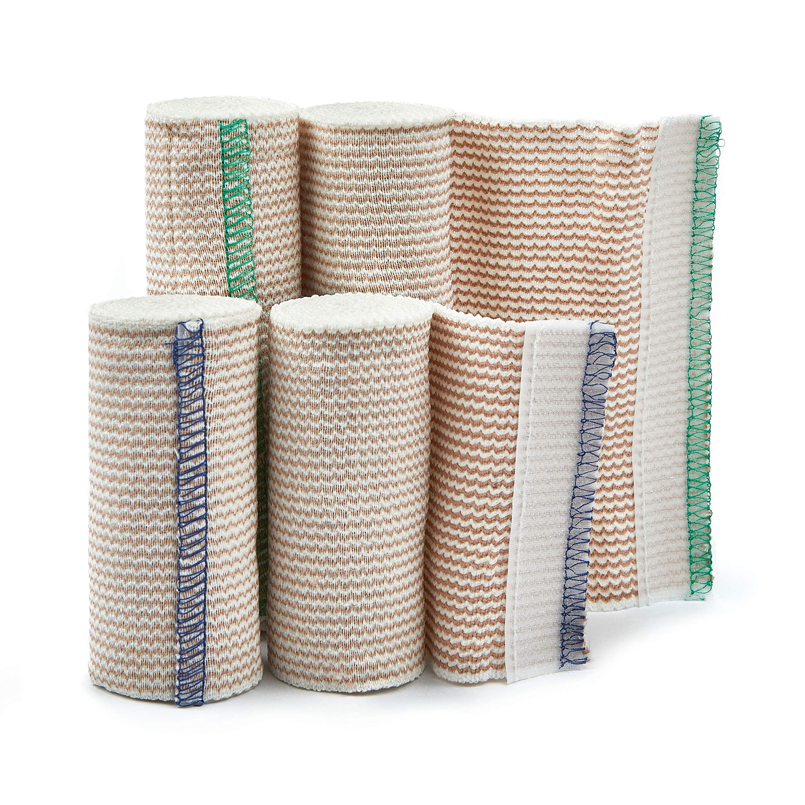 Premium Elastic Bandage Wrap Compression Roll with Velcro Includes Hook and Loop Closure, Set of 4 Pack FDA Approved, Two Rolls of Each Size 4 Inch x 4.6 Meter & 6 Inch x 4.6 Metre Polyester Cotton.