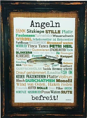 Angeln befreit! Druck Poster A4 Geschenk AnneSvea Typo Deko Angler Fische Rute Verein Anglerheim
