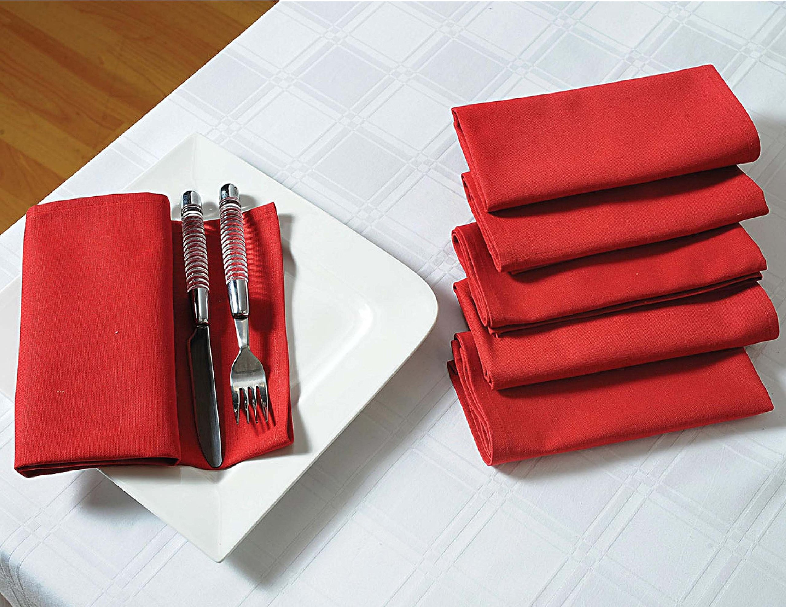 Solid Color Cotton Dinner Napkins - 20'' x 20'' - Set of 6 Premium Table Linens for the Dining Room - Maroon Red