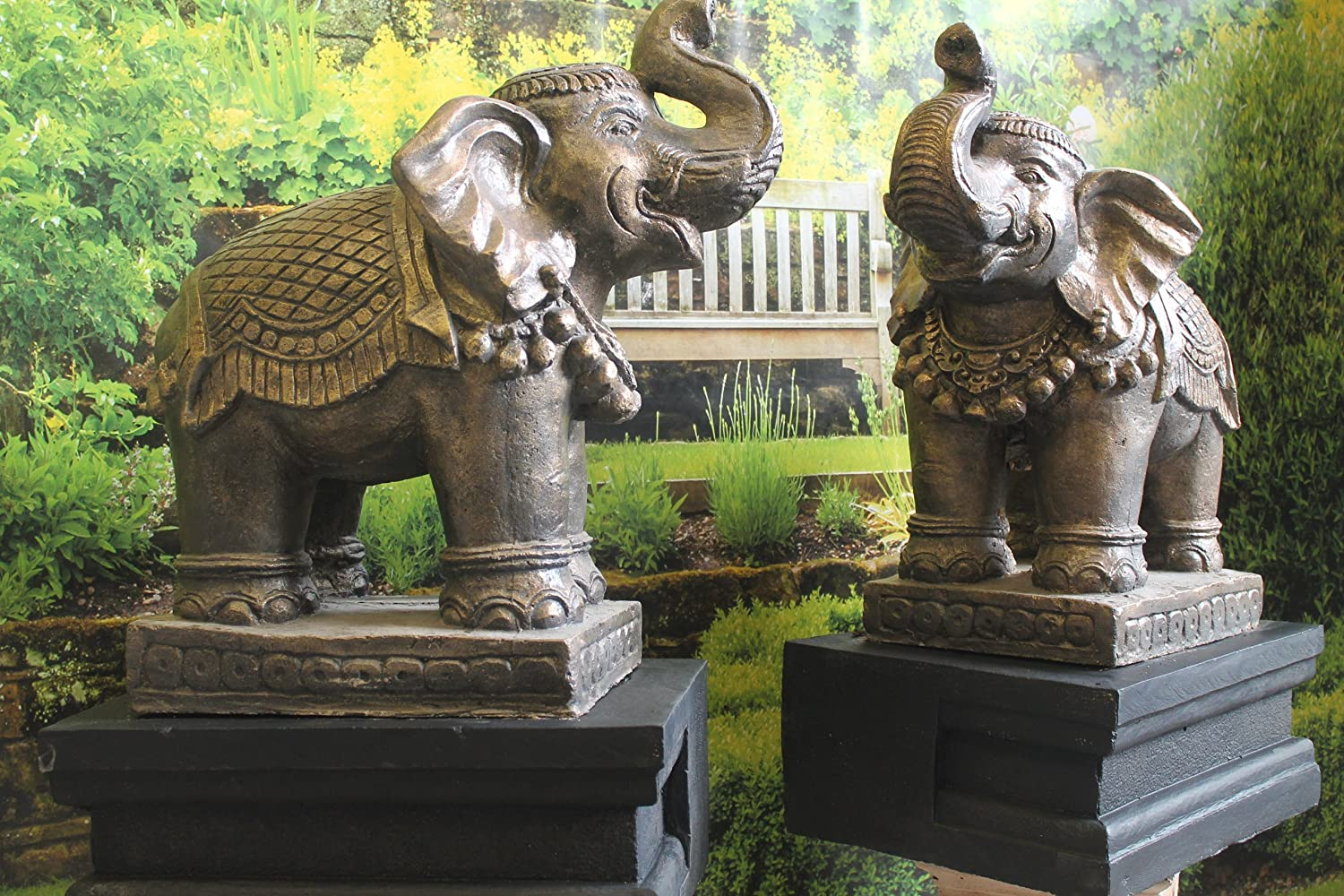 Ornate Stone Elephants And Plinths Pair Garden Ornament Statues:  Amazon.co.uk: Garden U0026 Outdoors