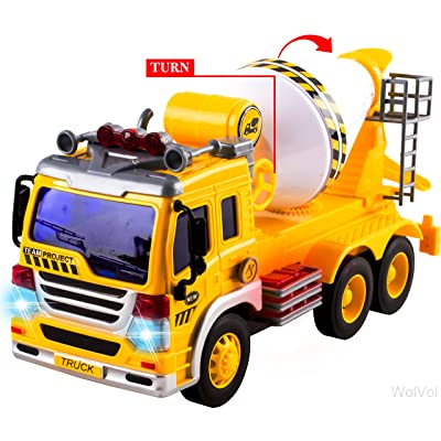 WolVol Friction Powered Cement Mixer Truck Toy With Lights and Sounds For Kids, Can Actually Turn the Mixer