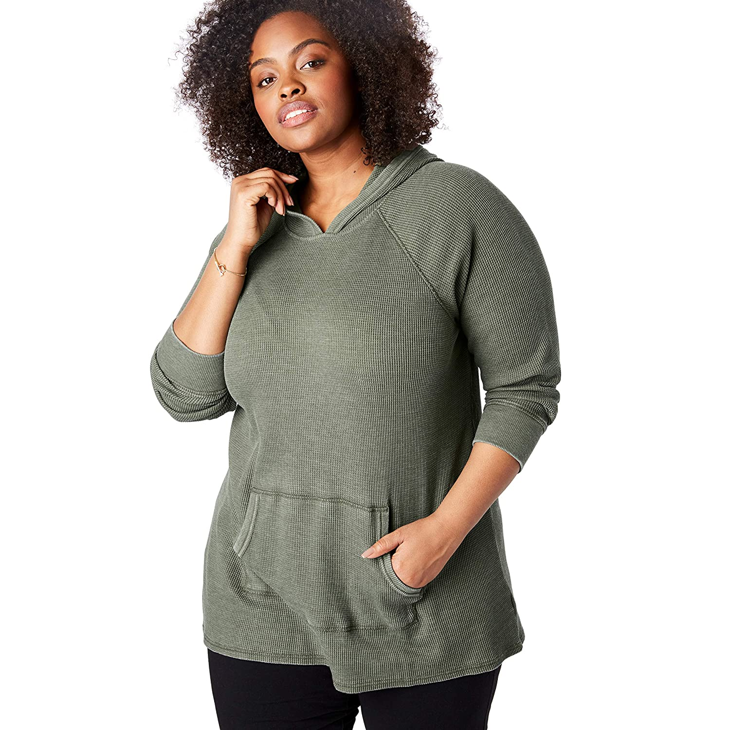 Woman Within Womens Plus Size Washed Thermal Hooded Sweatshirt