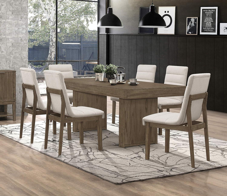 Coaster Home Furnishings Torrington 7-Piece Rectangle Dining Set, Wheat Brown and Grey Tweed