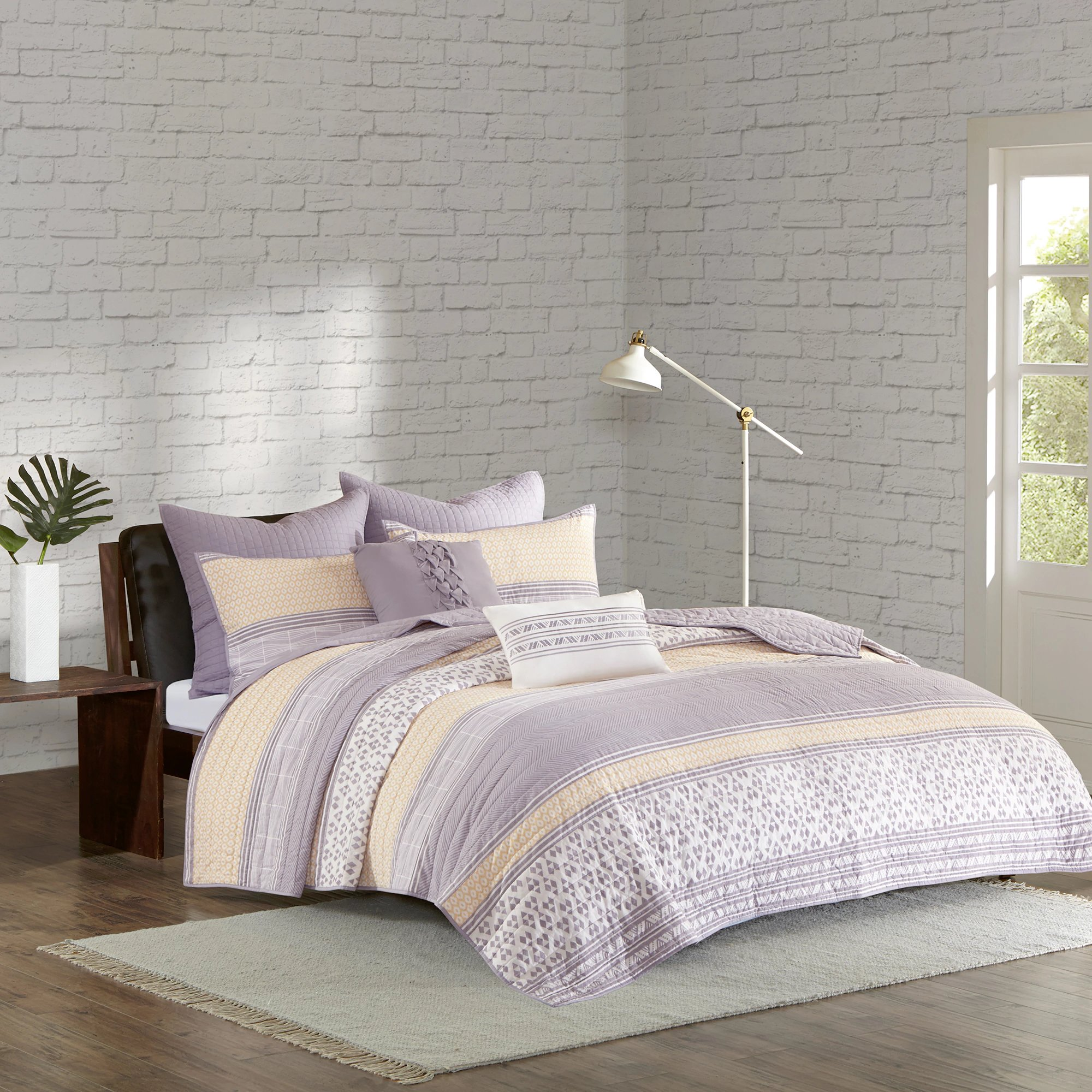 Yellow, Grey, Purple and White Cotton, 7-Piece Full/Queen Coverlet Set and Stripe Pattern Includes Cross Scented Candle Tart