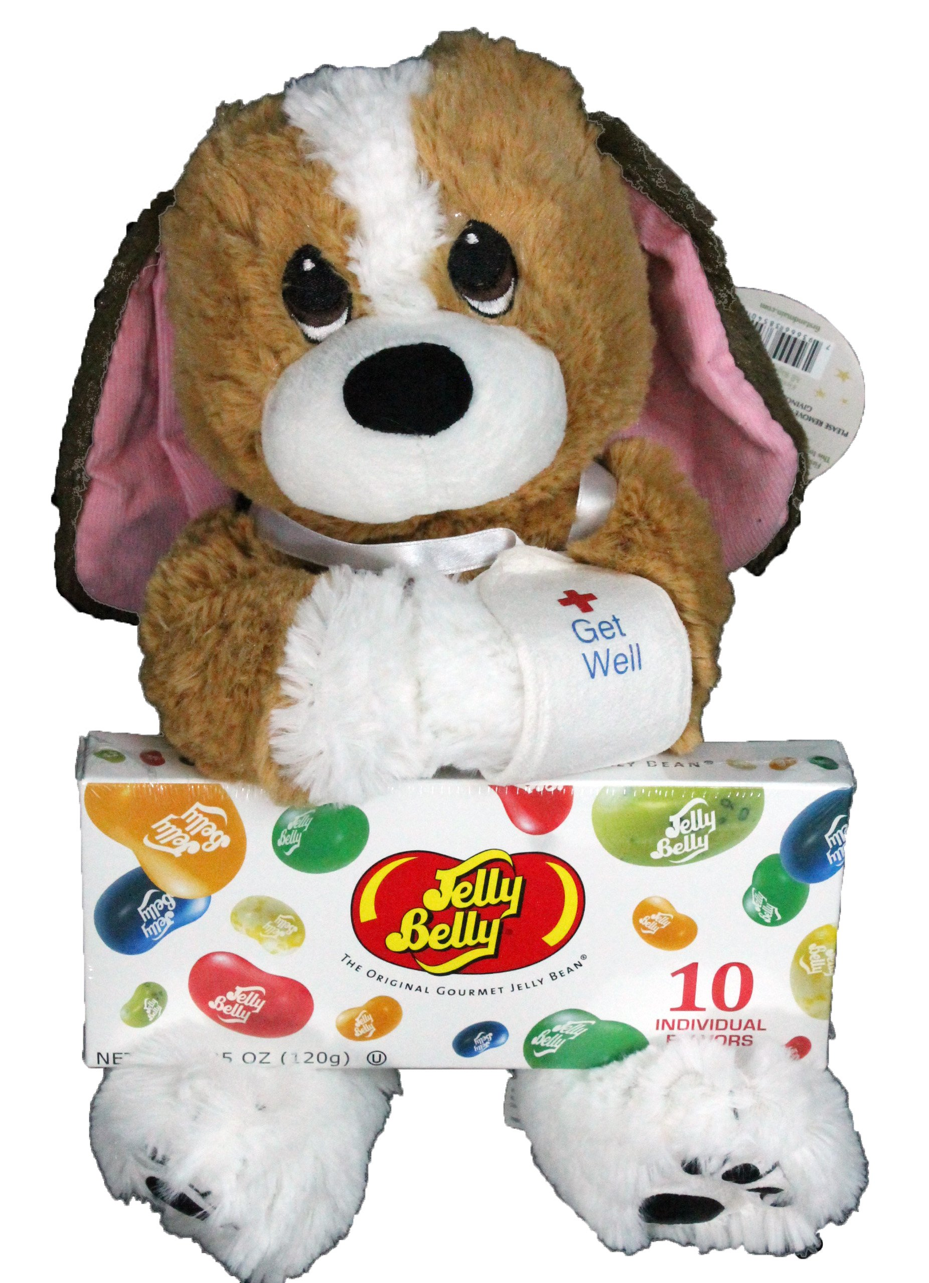 Get Well Gift Set For Kids - 2 Piece Plush Dog Melancholy Mel and Jelly Belly Gift Box or Hospital Gift for Boys
