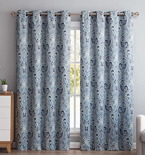 HLC.ME Paris Paisley Decorative Print Damask Pattern Thermal Insulated Blackout Energy Savings Room Darkening Soundproof Grommet Window Curtain Panels for Bedroom – Set of 2 50 W x 96 L Long, Blue