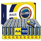 Allmax AA Maximum Power Alkaline Batteries (100 Count Bulk Pack) – Ultra Long-Lasting Double A Battery, 10-Year Shelf…