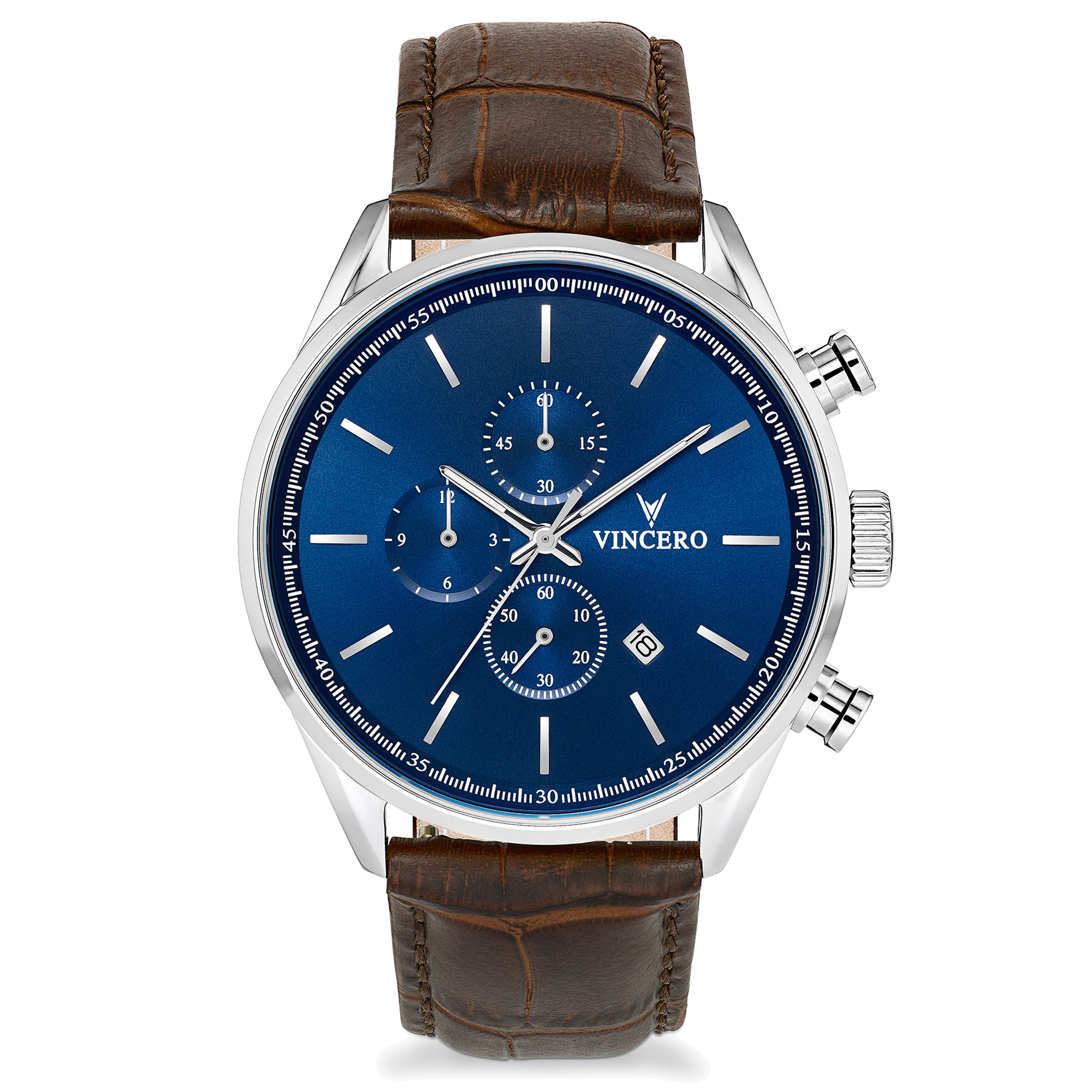 Vincero Men's Chrono S Watch - Blue/Brown with Leather Band by Vincero