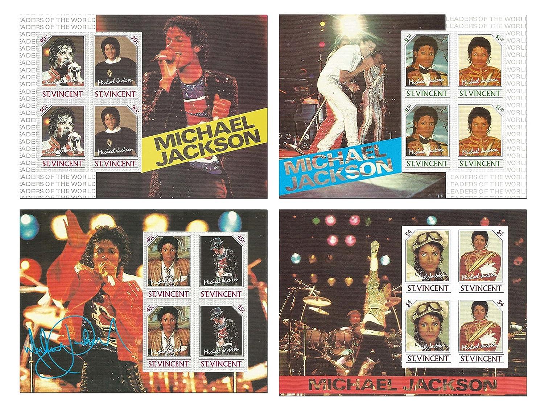 L'complète de Michael Jackson en direct sur perforée timbre décor de collecte à 4 feuilles de menthe du Roi de la Pop - Saint-Vincent Stamps by Stampbank
